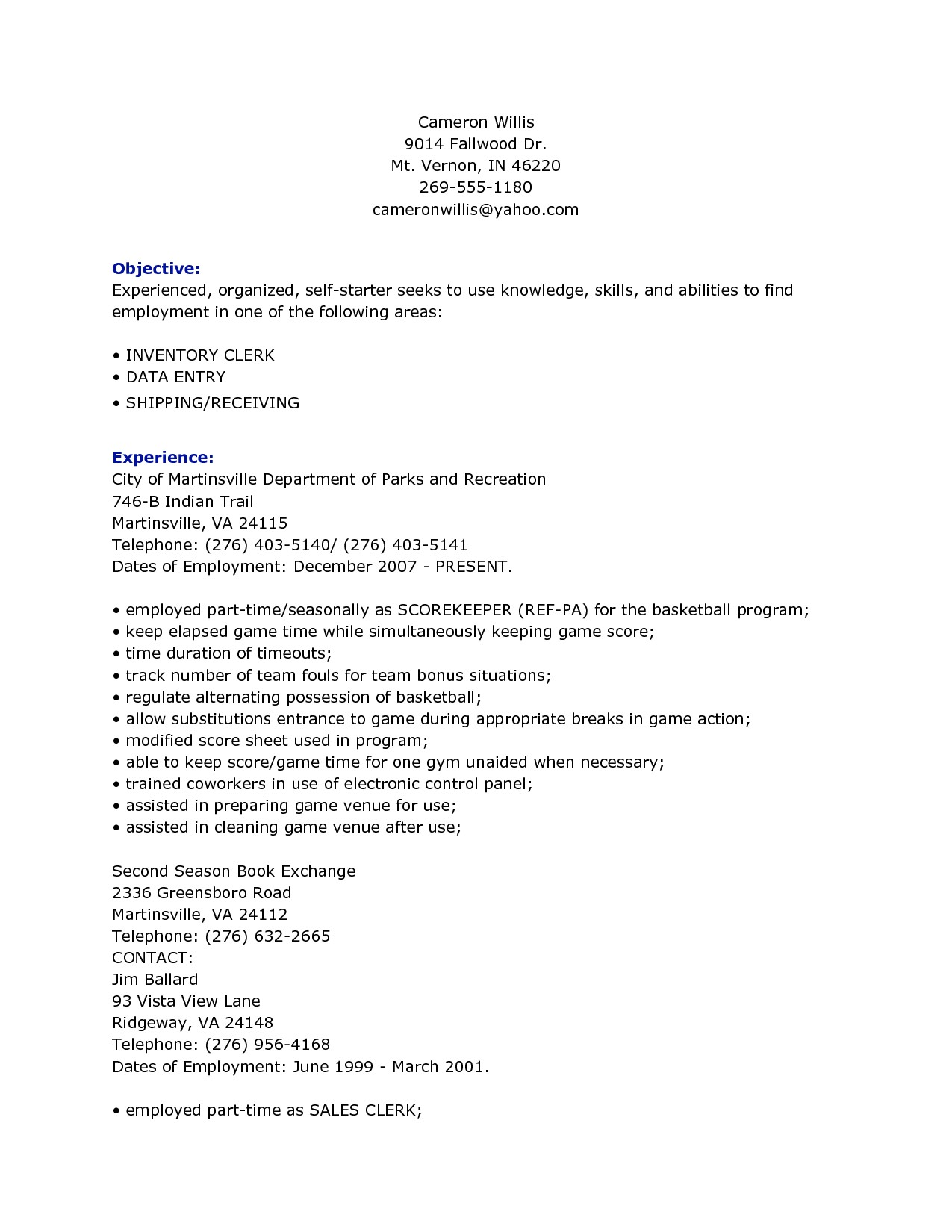 Sample Resume for Inventory Clerk Inventory Clerk Job Description for Resume Resume Ideas
