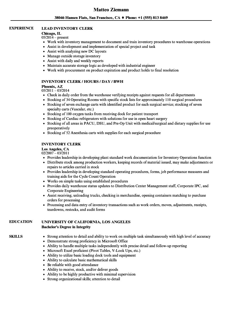Sample Resume for Inventory Clerk Inventory Clerk Resume Samples Velvet Jobs