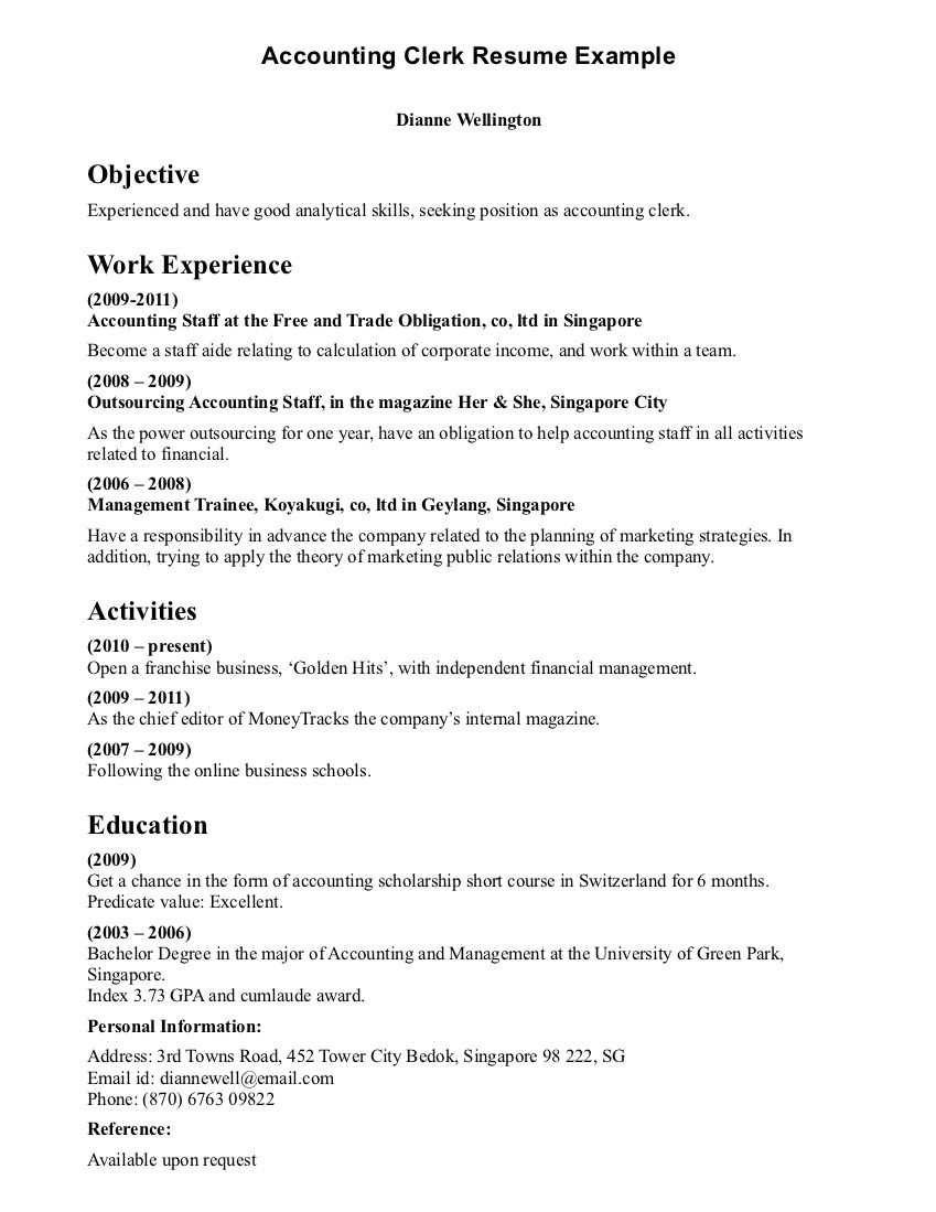 sample resume for inventory clerk