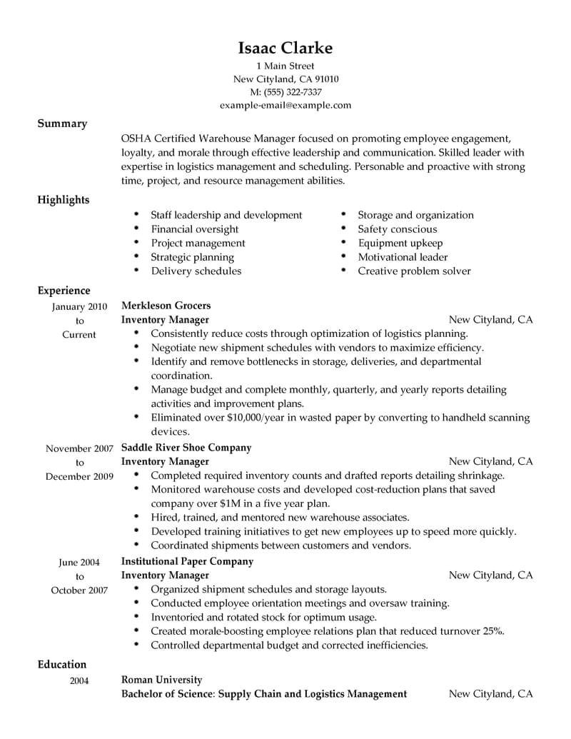 Sample Resume for Inventory Manager Best Inventory Manager Resume Example Livecareer