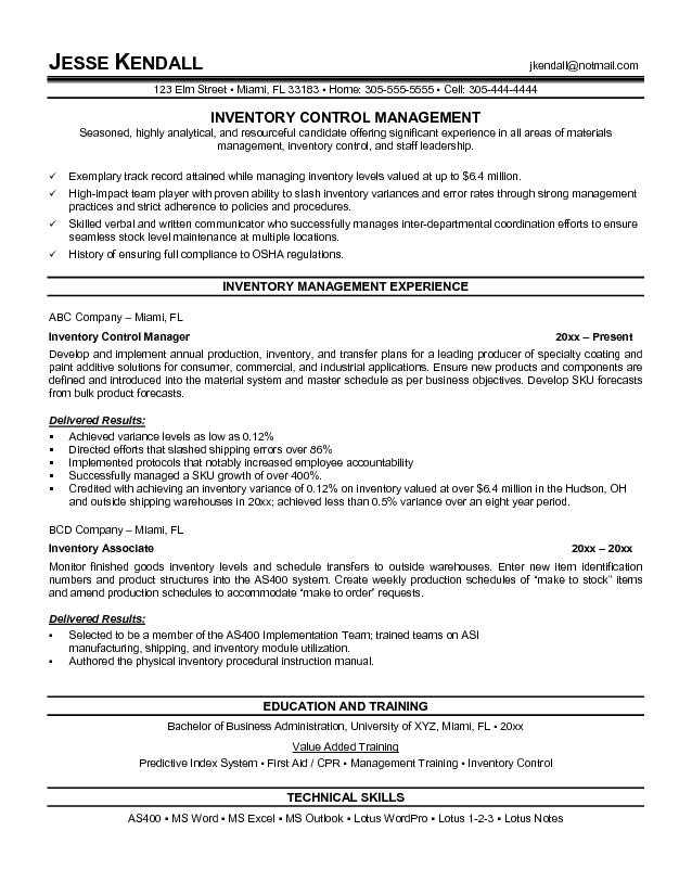 inventory manager resume 2354