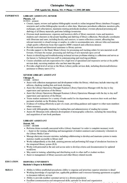 Sample Resume for Library assistant with No Experience Sample Library assistant Resume Rabotnovreme Info