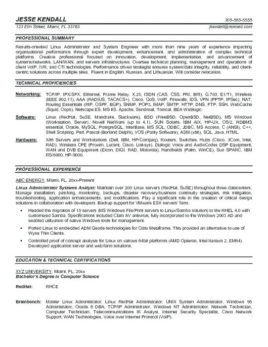 Sample Resume for Linux System Administrator Fresher Sample Resume for Fresher Linux System Administrator