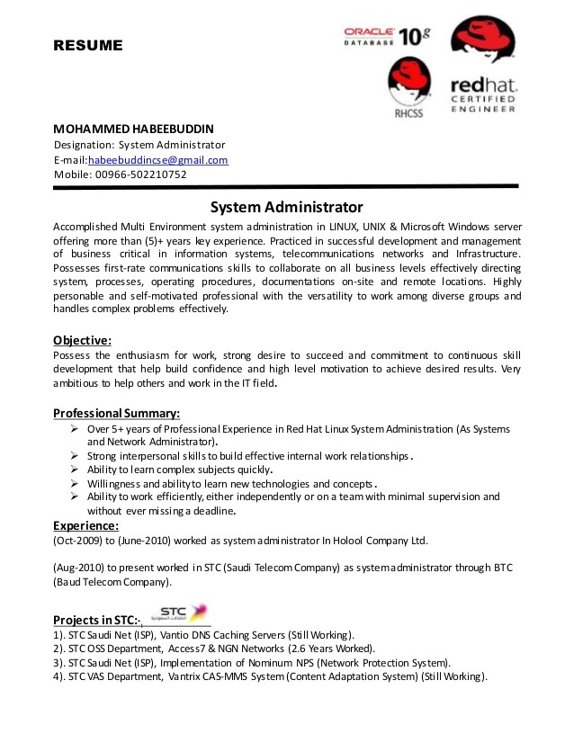 Sample Resume for Linux System Administrator Fresher System Administrator Cv
