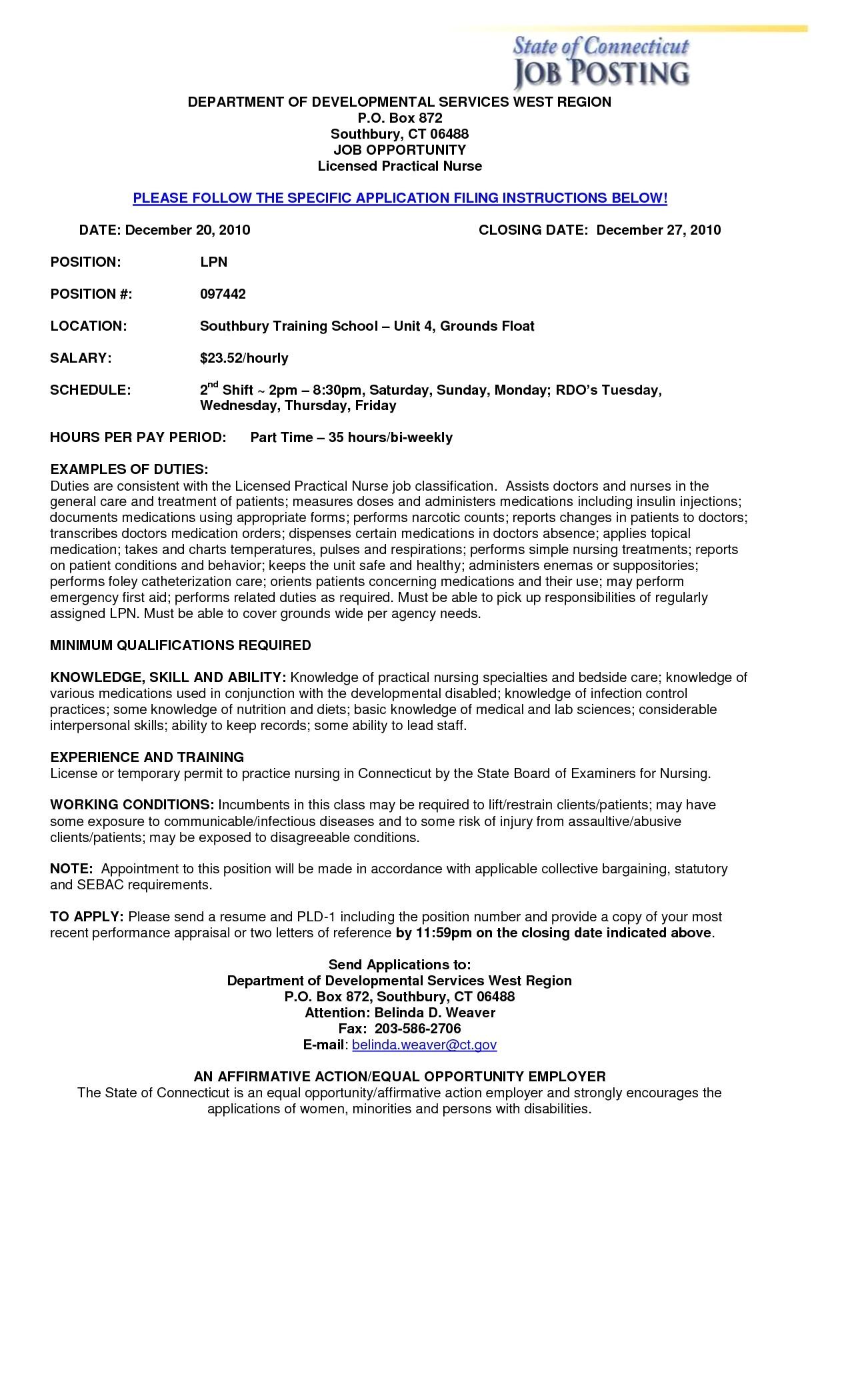 sample resume for lpn new grad