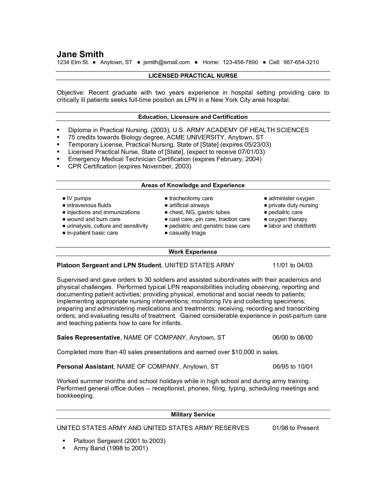 new grad lpn resume