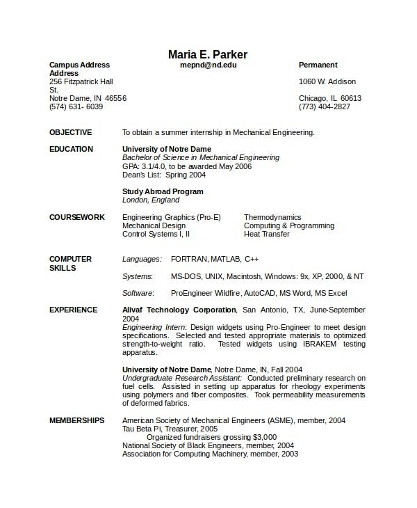 Sample Resume for Mechanical Design Engineer Pdf 10 Engineering Resume Template Free Word Pdf Document