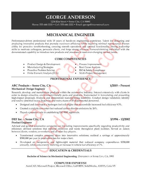 mechanical engineer sample