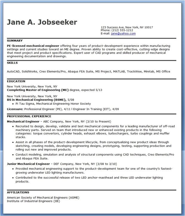 Sample Resume for Mechanical Design Engineer Pdf Mechanical Engineering Resume Sample Pdf Experienced