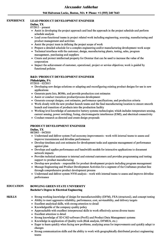 product development engineer resume sample