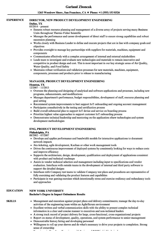 product development engineering resume sample