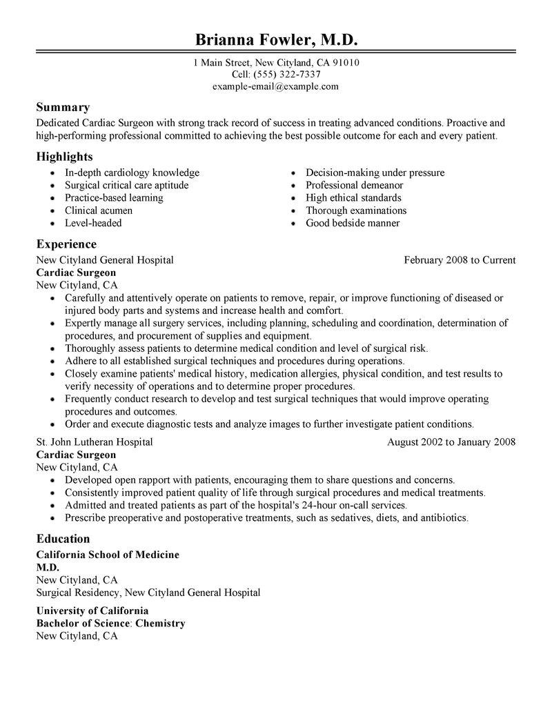 Sample Resume for orthopedic Surgeon Best Surgeon Resume Example Livecareer
