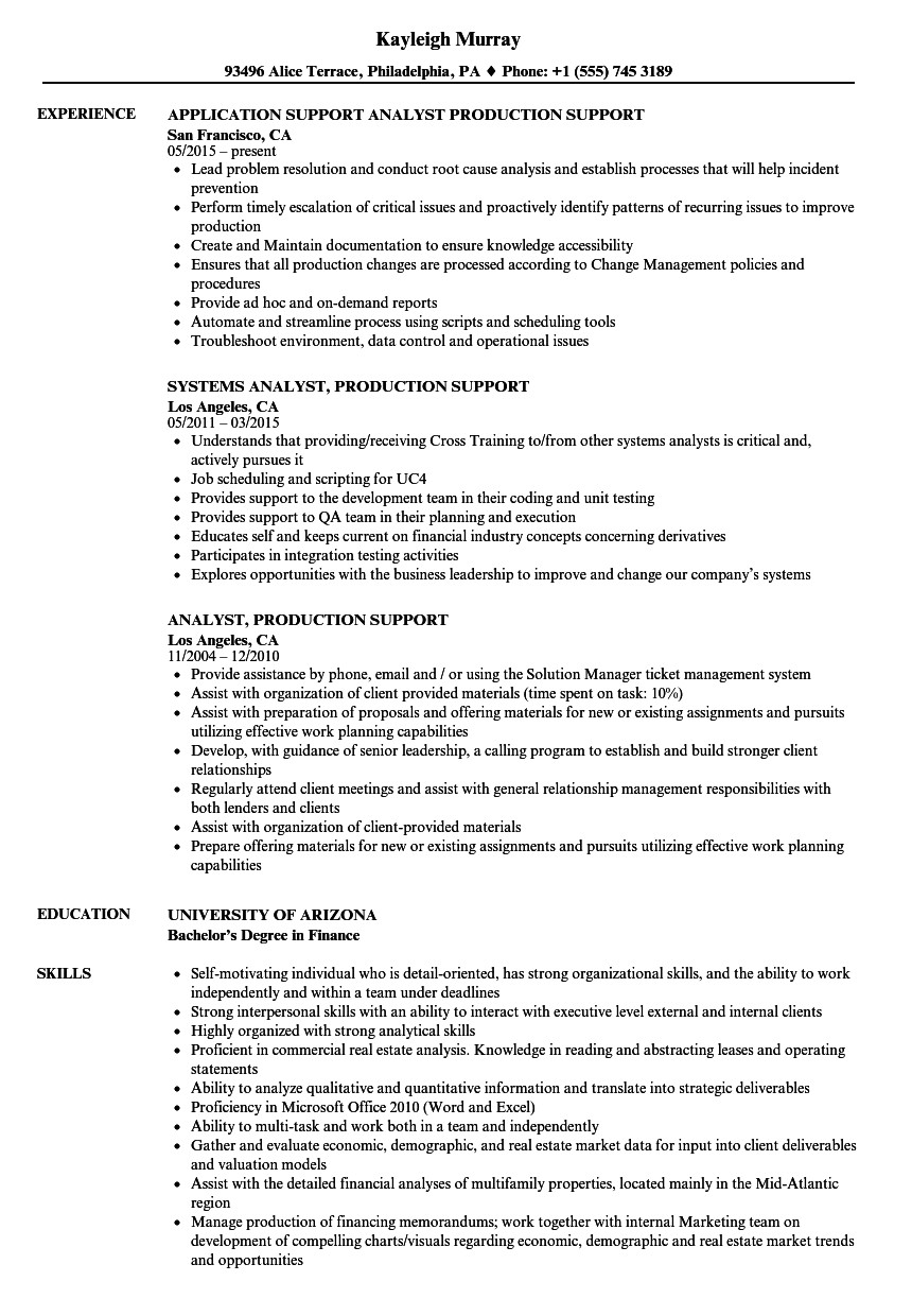 analyst production support resume sample