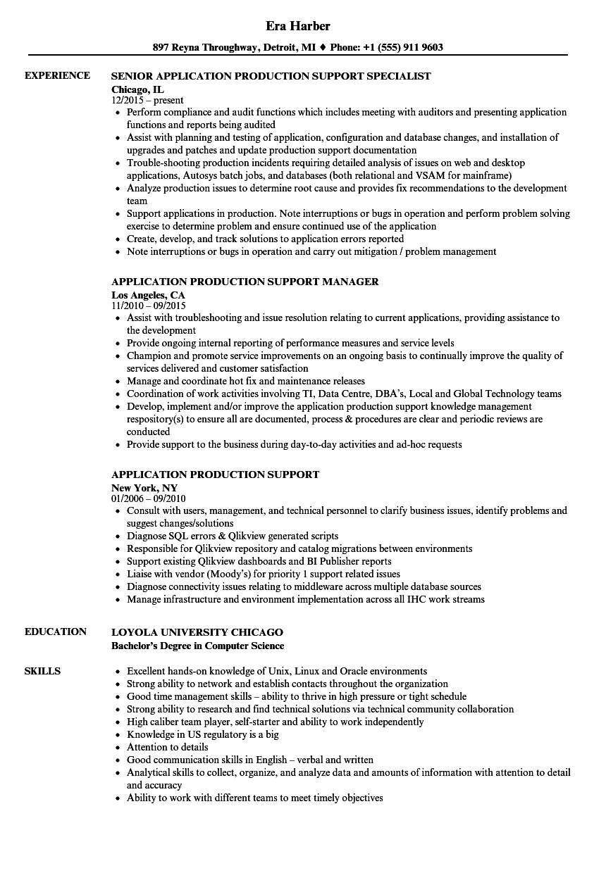 application production support resume sample