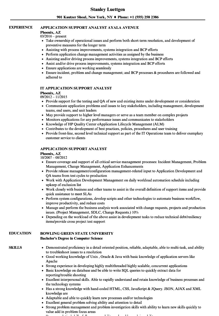 application support analyst resume sample