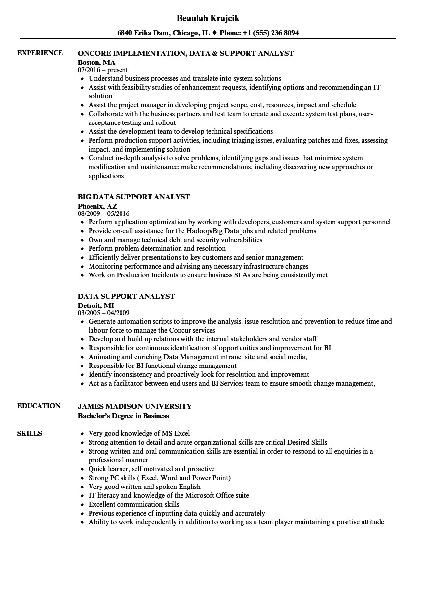 Sample Resume for Production Support Analyst Data Support Analyst Resume Samples Velvet Jobs
