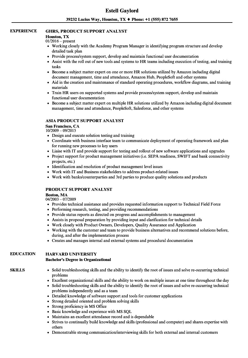 product support analyst resume sample