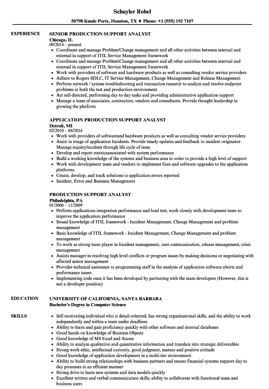 Sample Resume for Production Support Analyst Production Support Resume Resume Ideas
