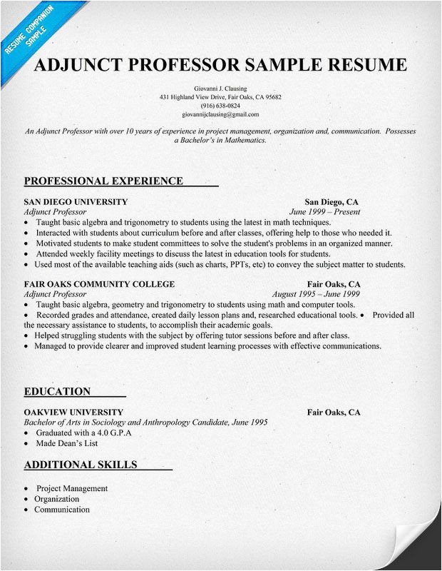 Sample Resume for Professor Resume Example for Adjunct Professor Resumecompanion Com