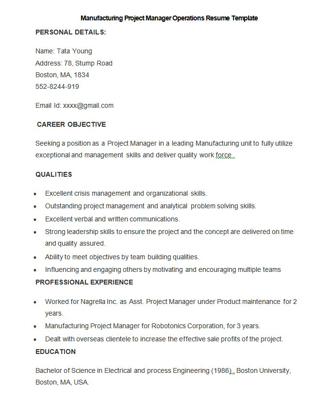 Sample Resume for Project Manager In Manufacturing Manufacturing Resume Template 26 Free Samples Examples