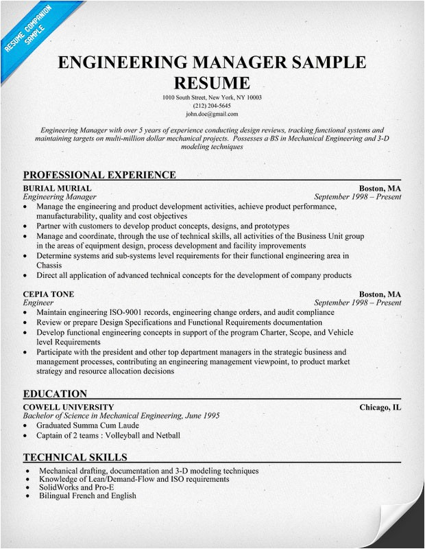 Sample Resume for Project Manager In Manufacturing Sample Resume October 2014