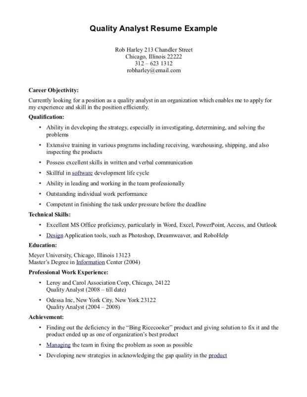 quality analyst resume ideal example samples