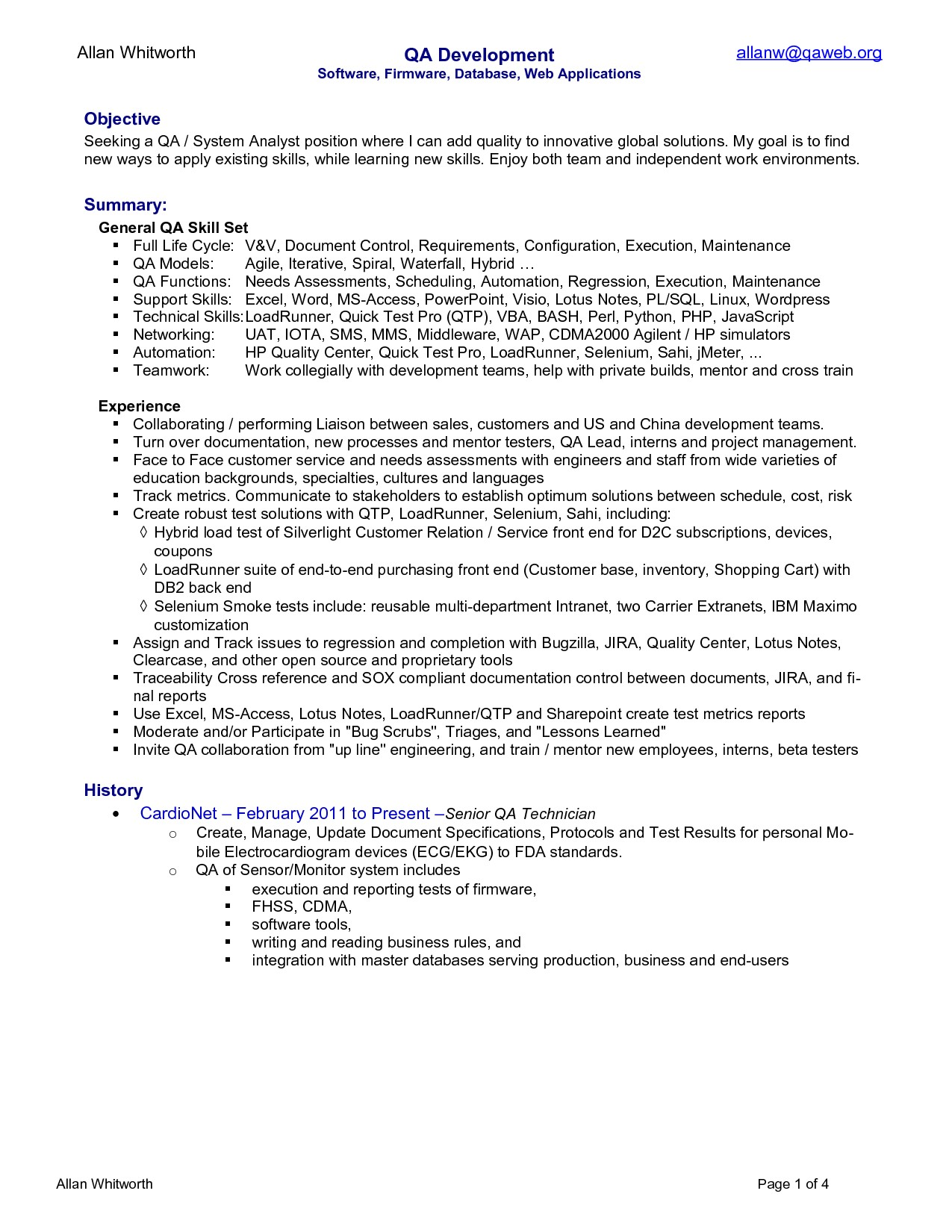 quality analyst resume 2197