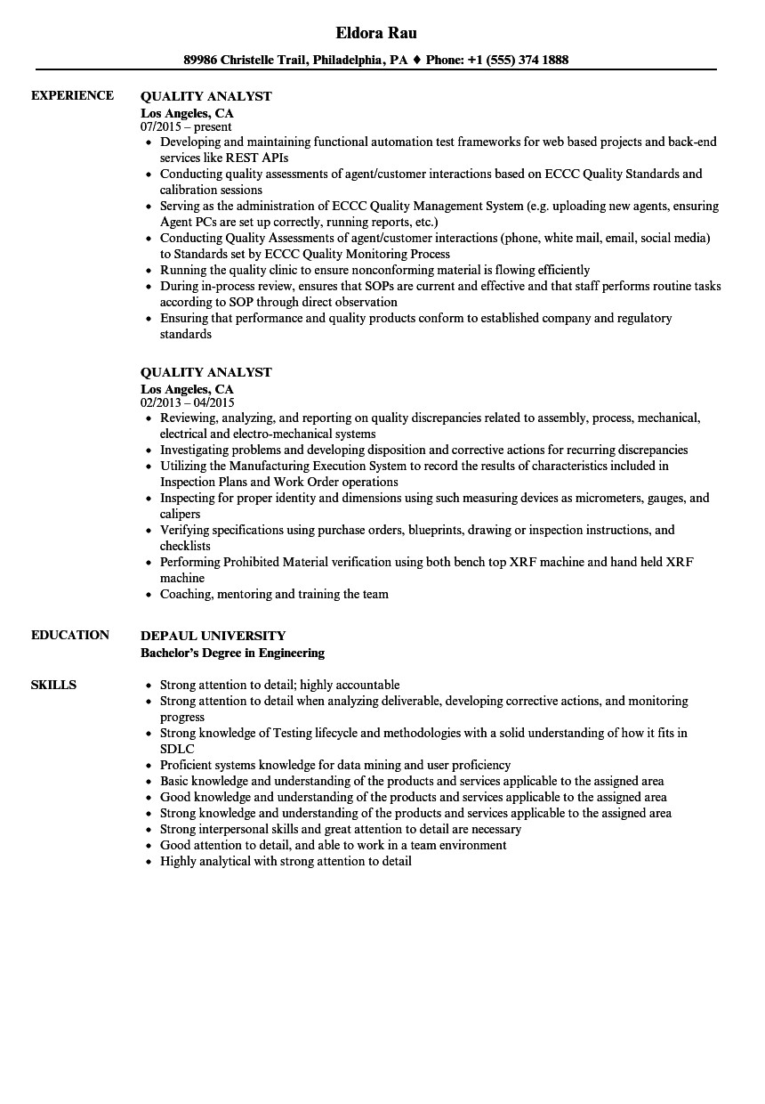 quality analyst resume sample