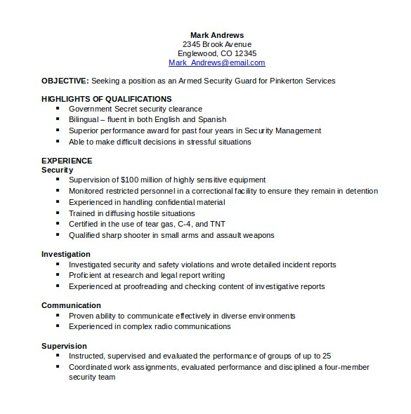 Sample Resume for Security Guard Pdf 12 Security Resume Templates Sample Templates