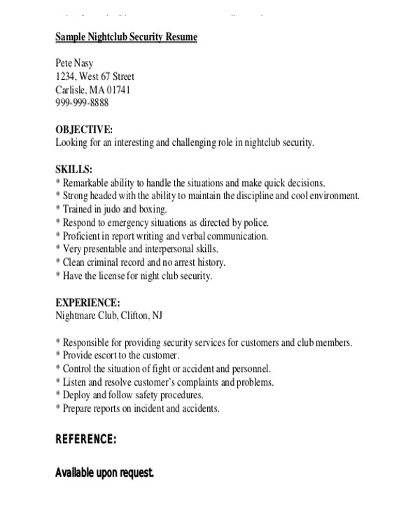 Sample Resume for Security Guard Pdf Security Guard Resumes 10 Free Word Pdf format