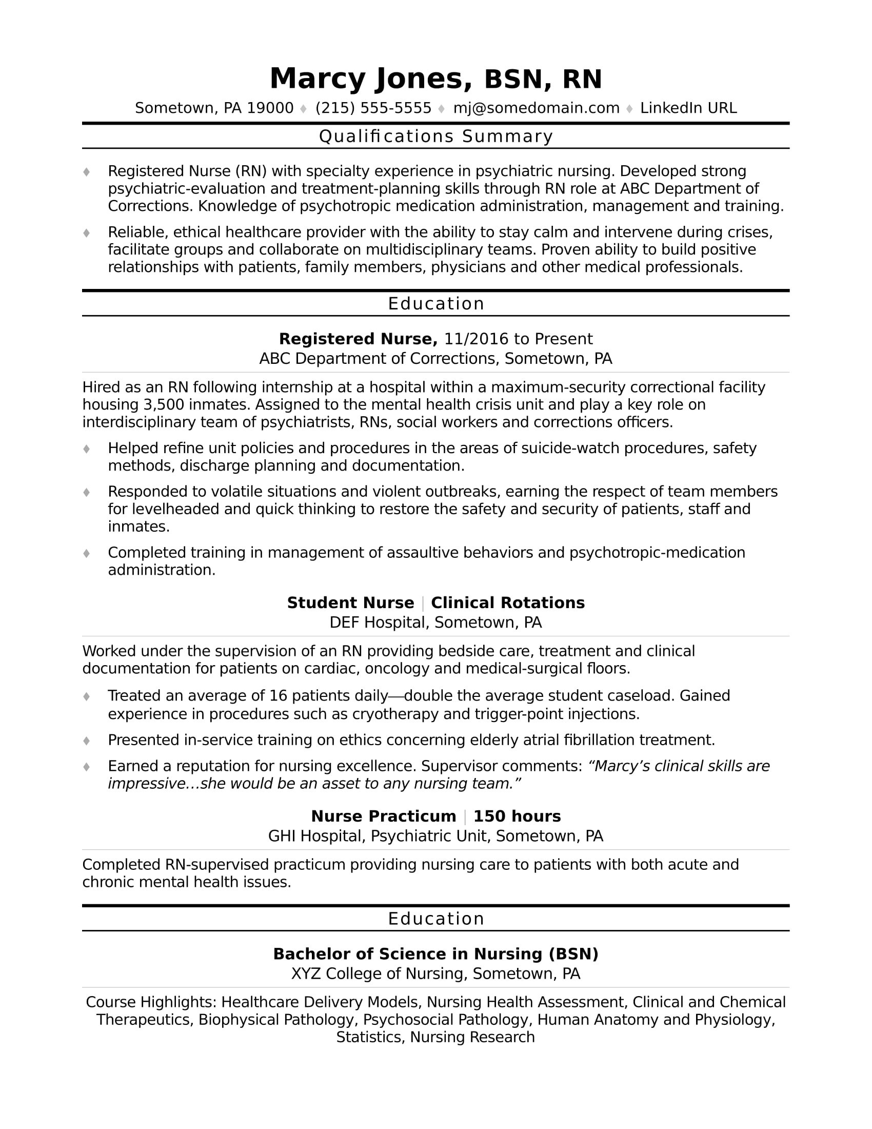 sample resume for staff nurse position