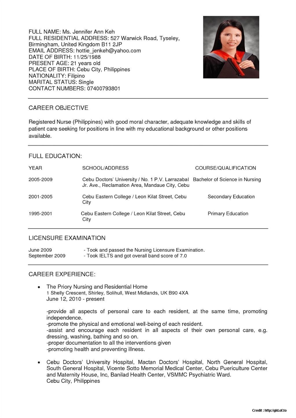 Sample Resume for Staff Nurse Position Sample Staff Nurse Resume Malaysia Resume Resume