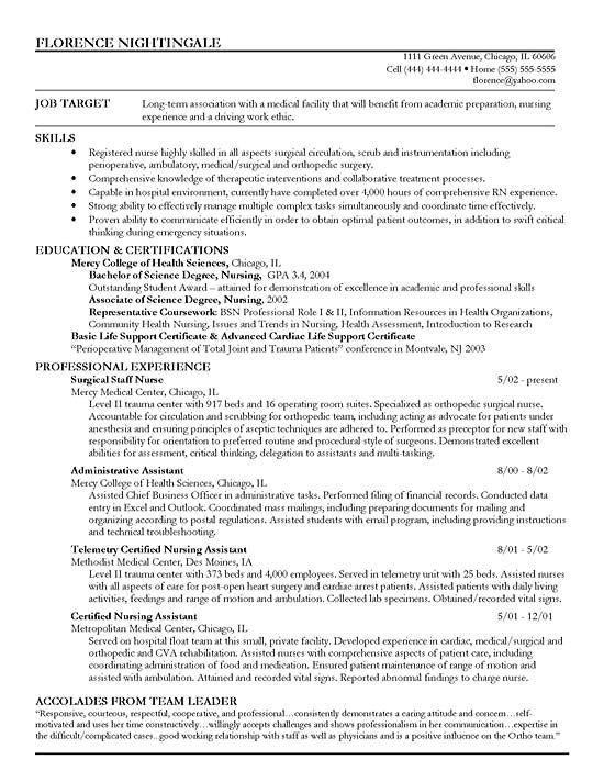 Sample Resume for Staff Nurse Position Staff Nurse Resume Example Sample Resume Registered