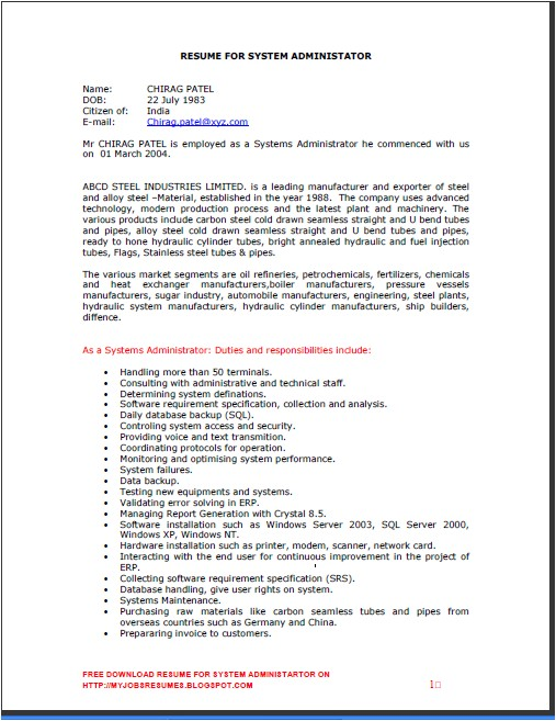 resumes for system administrator