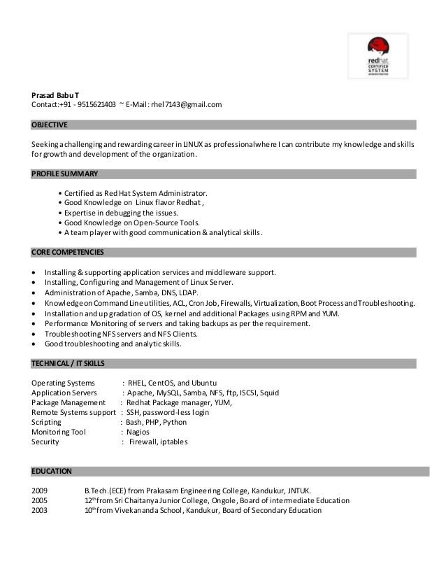 Sample Resume for System Administrator Fresher Linux Fresher Resume
