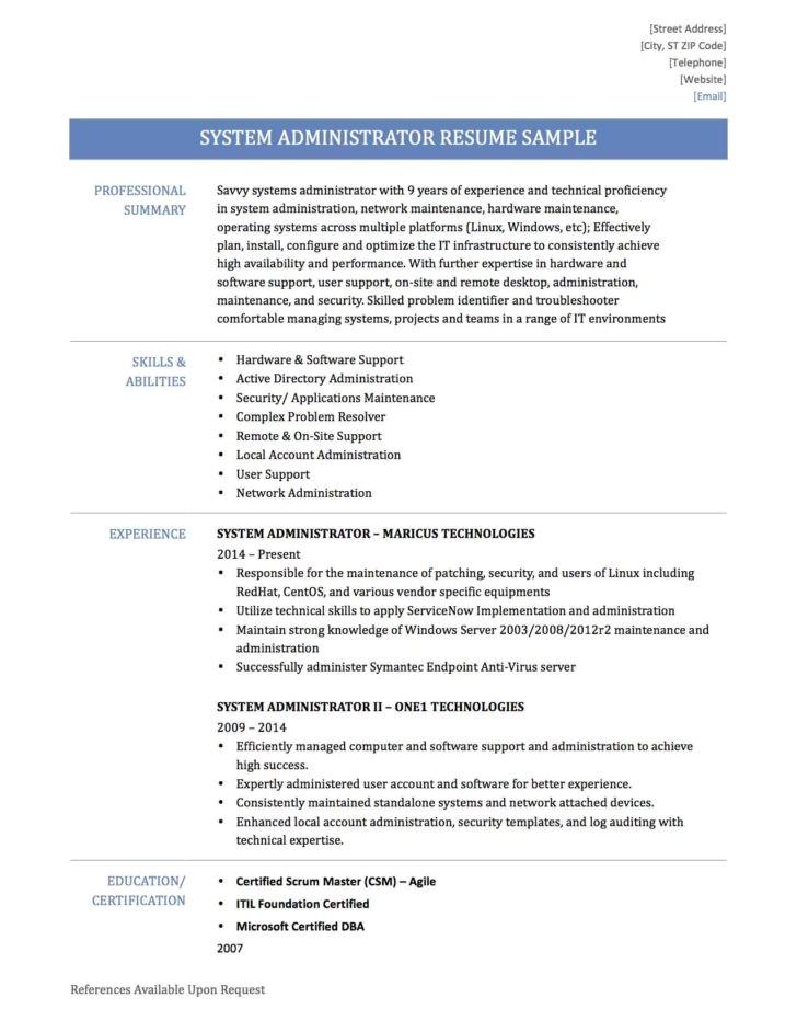 Sample Resume for System Administrator Fresher Linux System Administrator Resume Sample for Fresher