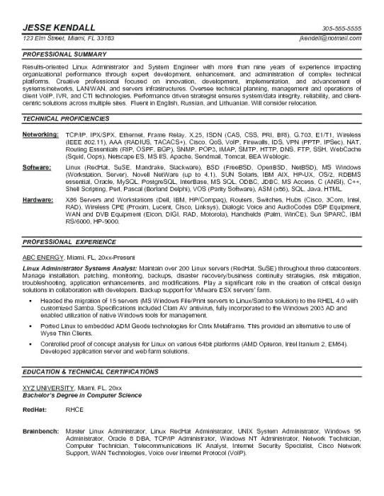 sample resume for fresher linux system administrator