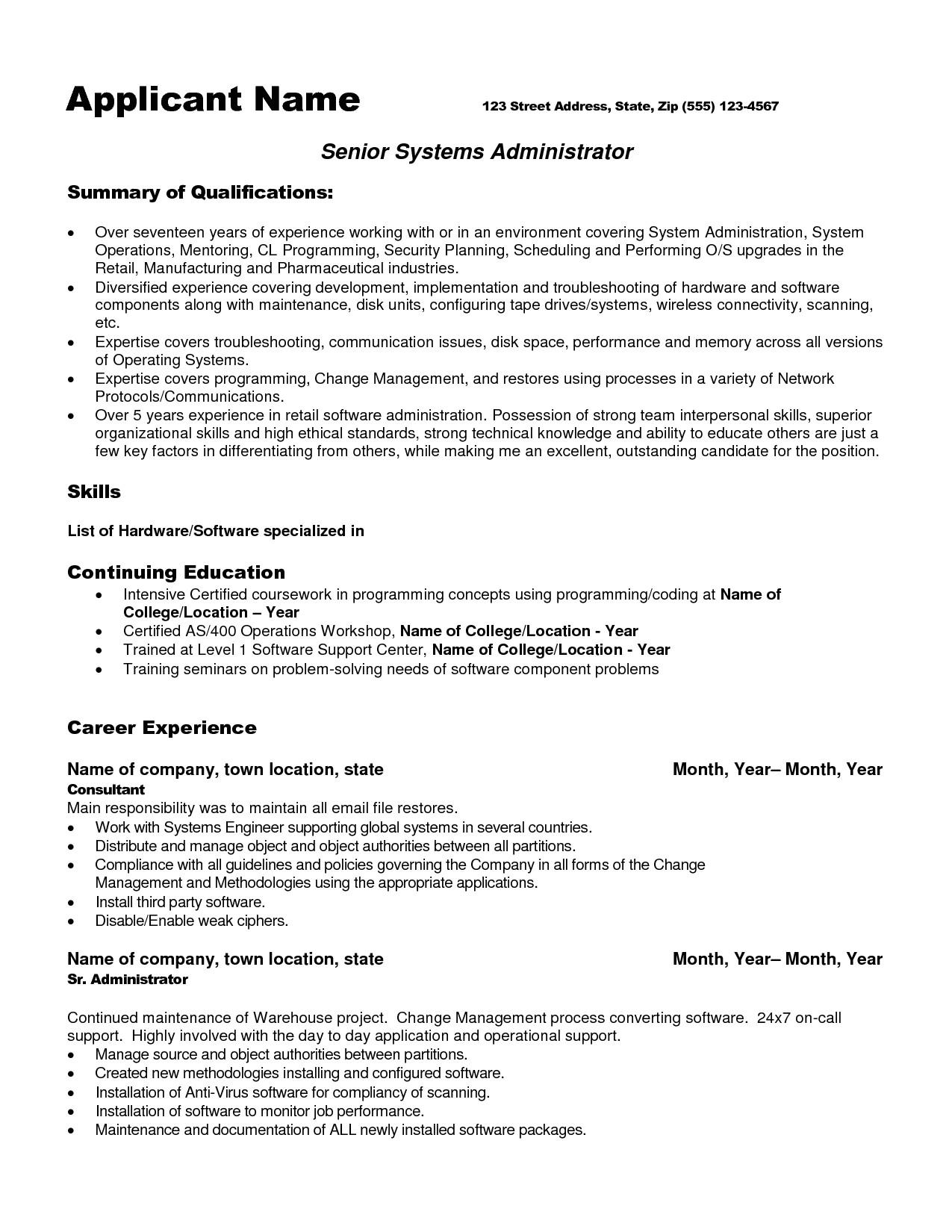 system administrator resume format for fresher