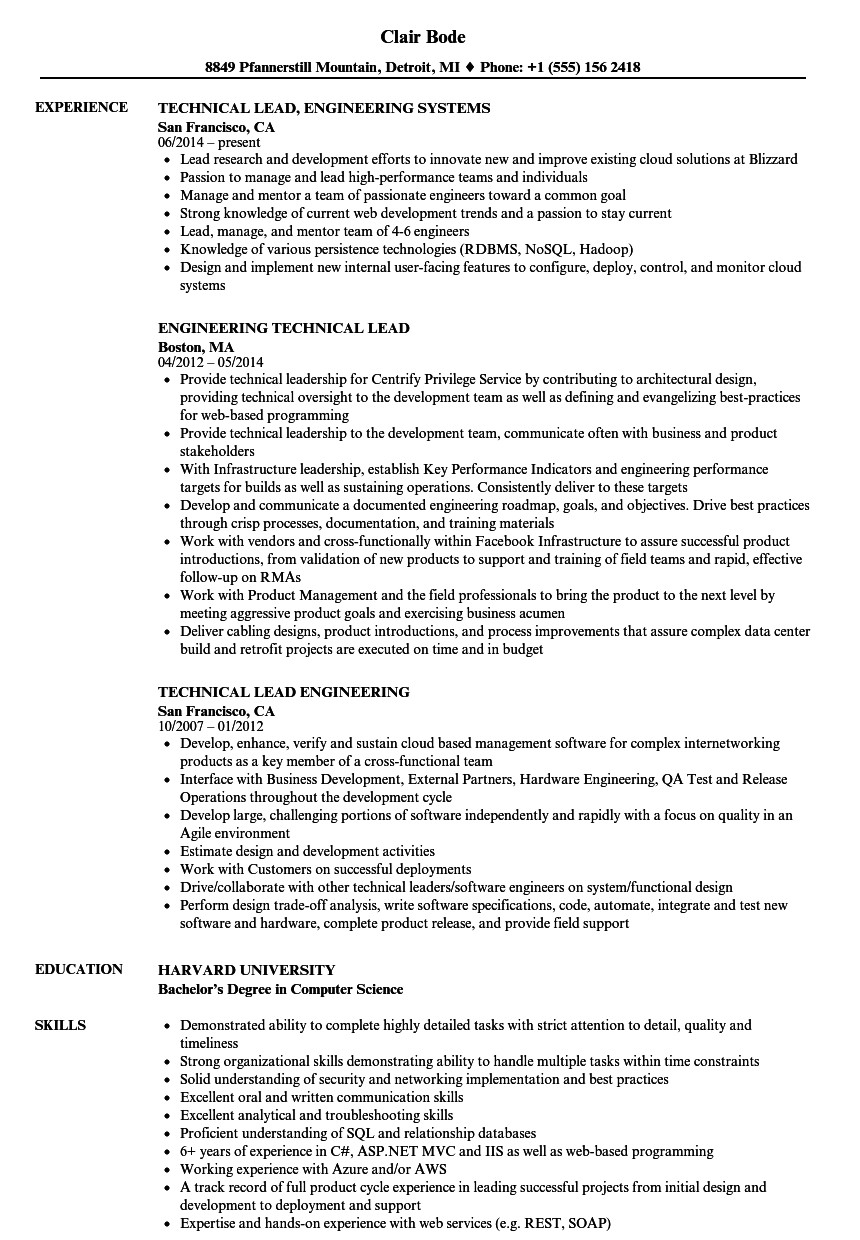 Sample Resume for Technical Lead Engineering Technical Lead Resume Samples Velvet Jobs