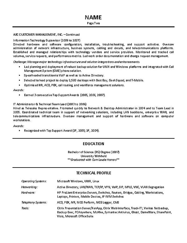 Sample Resume for Technical Lead It Supervisor Resume Example