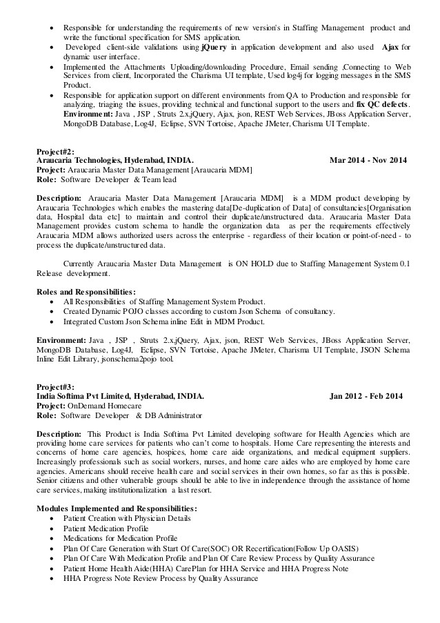 Sample Resume for Technical Lead Sharath Technical Lead Resume