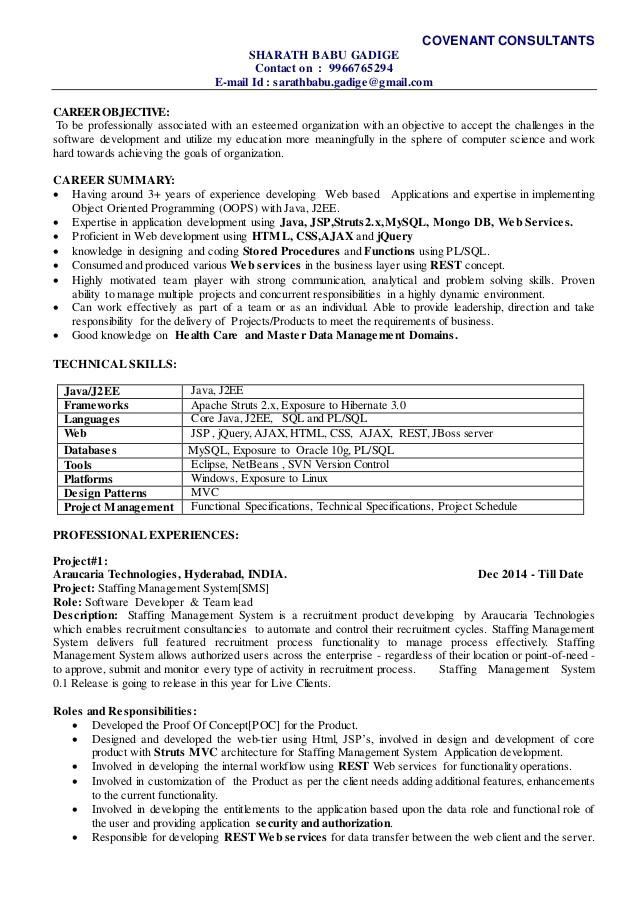 sharath technical lead resume