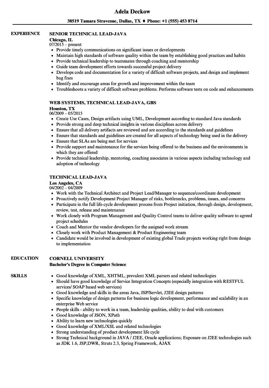 technical lead java resume sample