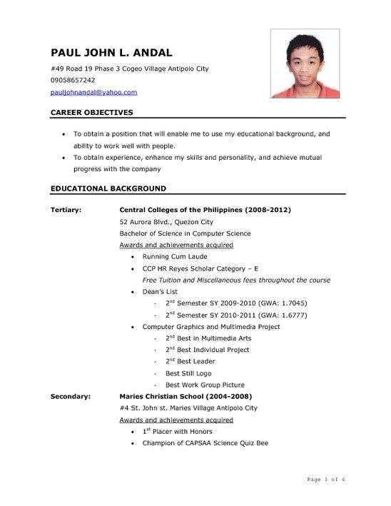 Sample Resume for tourism Students Sample Resume for Ojt Students Best Resume Gallery