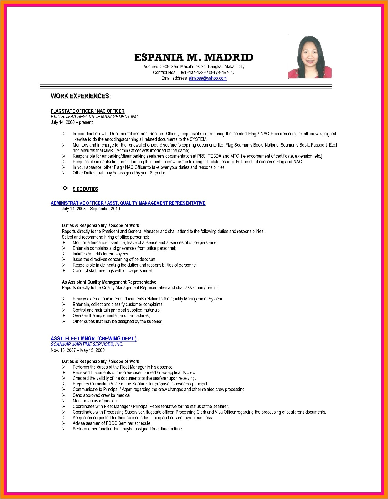 Sample Resume for tourism Students Sample Resume format for Ojt Business Administration