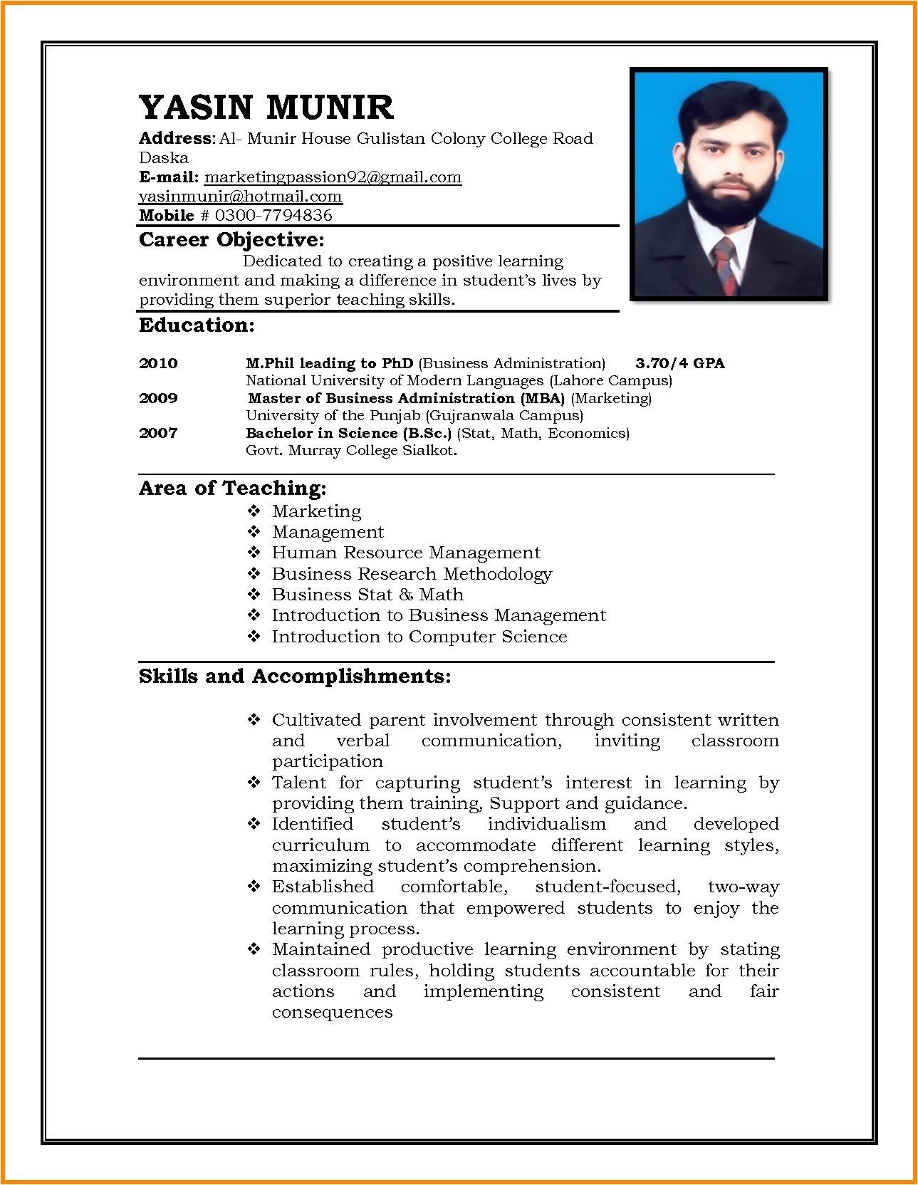 resume sample for ojt objectives new resume format doc for ojt