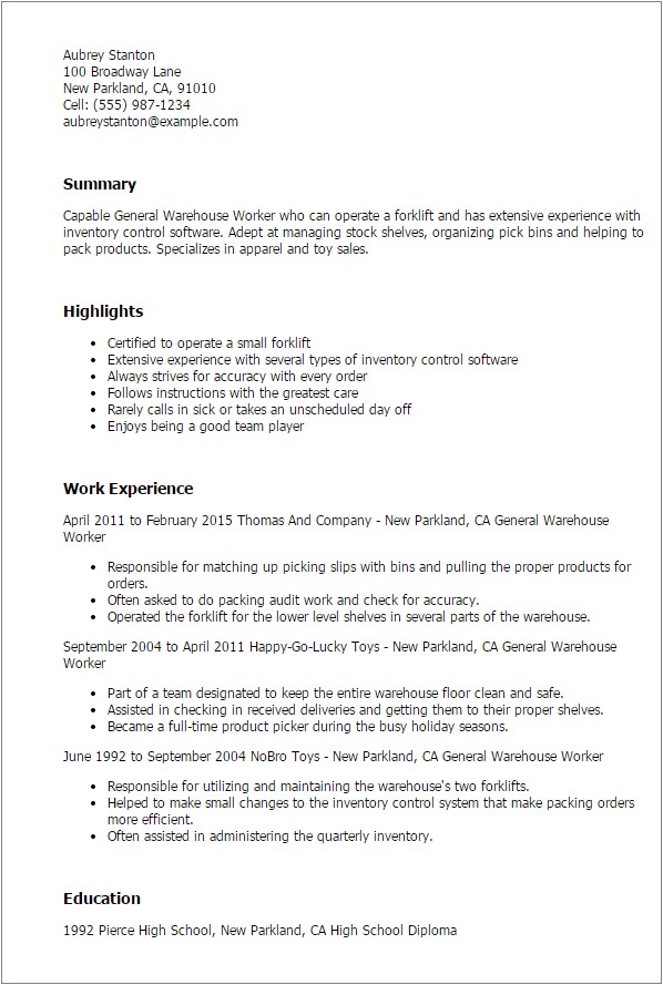 Sample Resume for Warehouse Worker 1 General Warehouse Worker Resume Templates Try them now