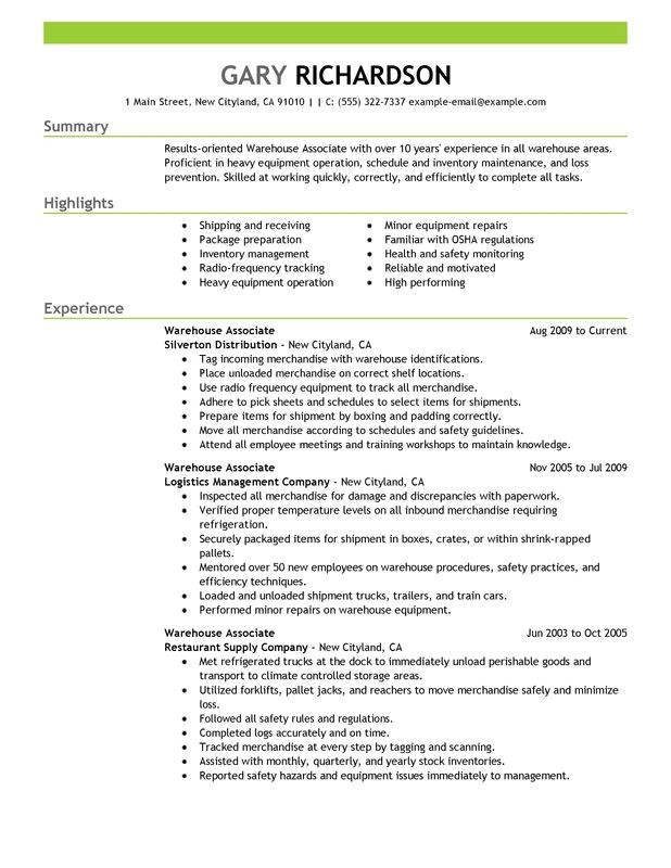 Sample Resume for Warehouse Worker Warehouse associate Resume Examples Created by Pros