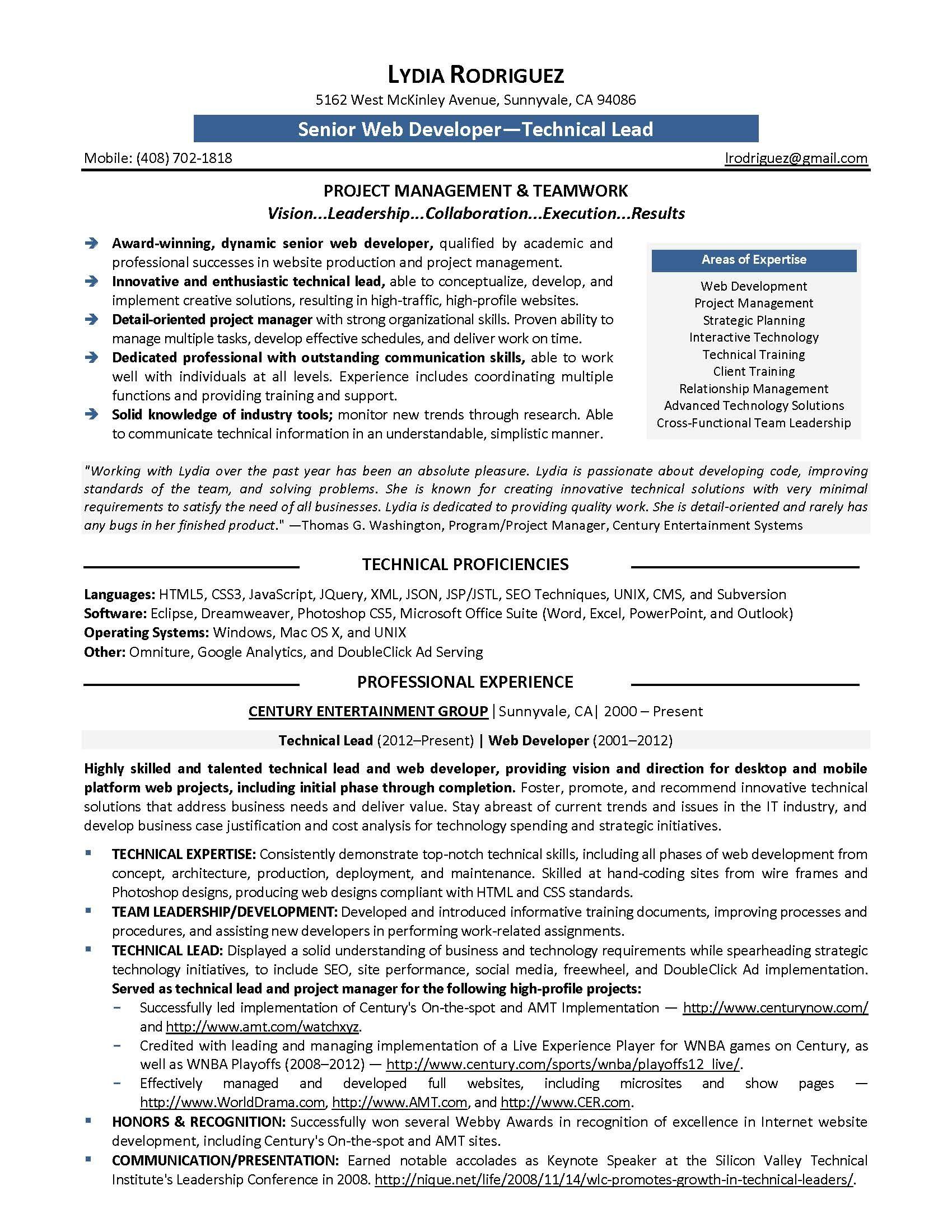 experience resume sample for web developer