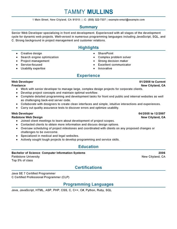Sample Resume for Web Designer Experience Web Developer Resume Examples Created by Pros